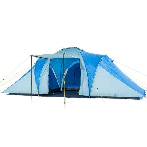 Großes XXL 5 Personen Zelt Campingzelt Familienzelt 3000 mm Tunnelzelt blau grau